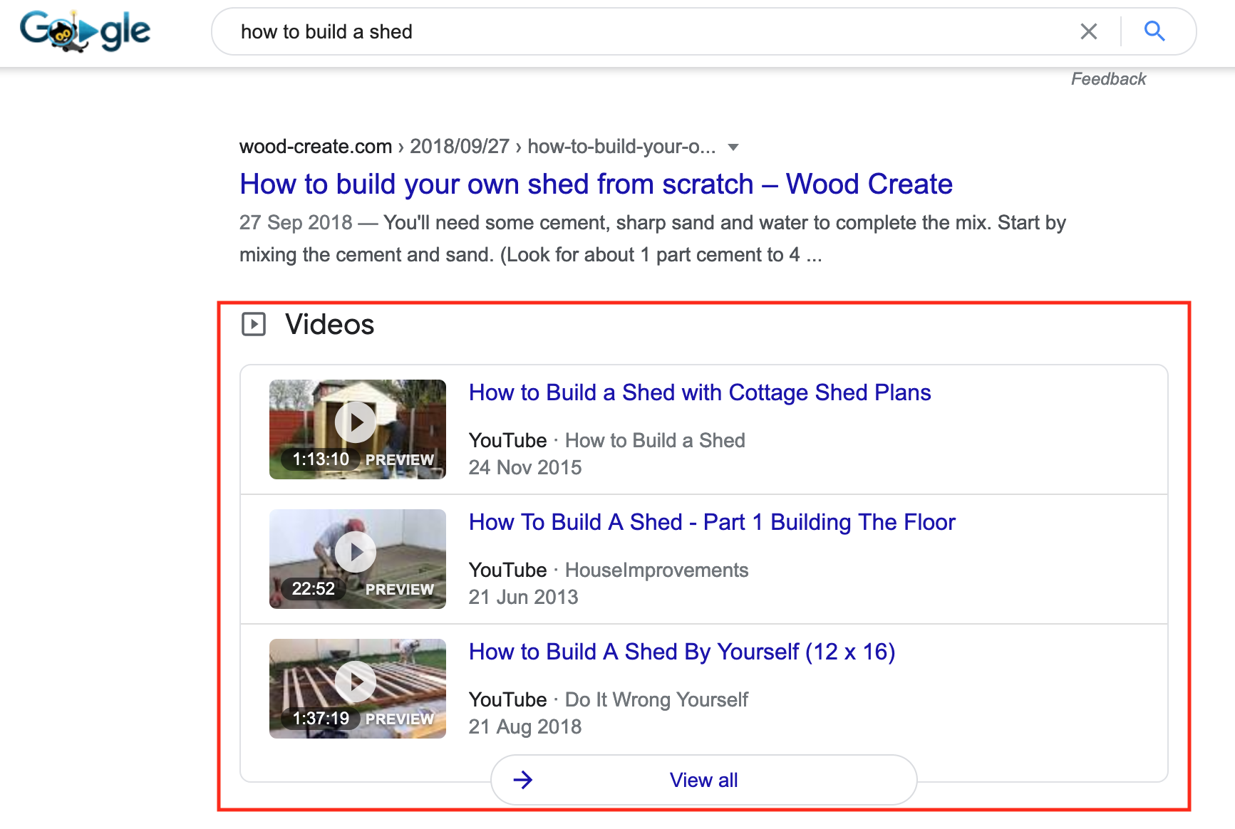 videos in google search results